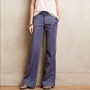 Level99 Newport wideleg linen pants blue gray